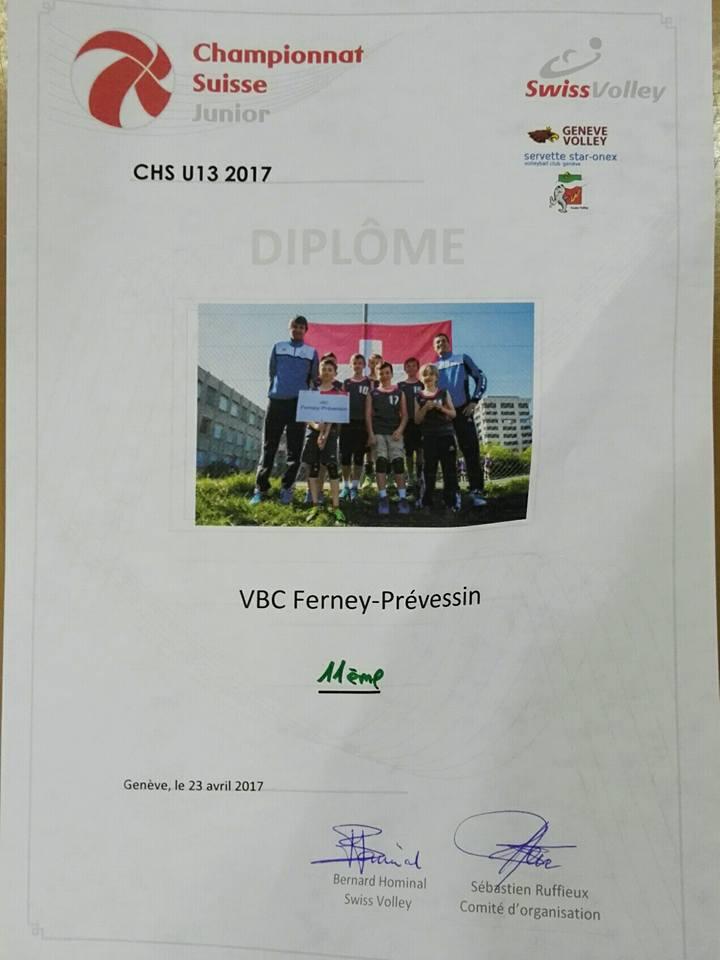 Diplome CHS M13 équipe garçons