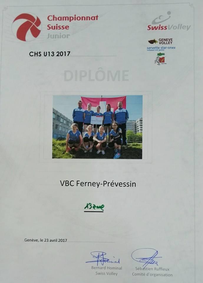 Diplome CHS M13 équipe filles